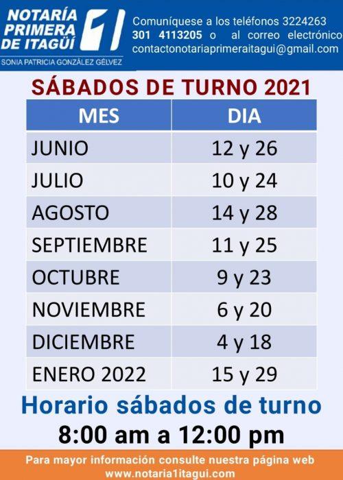 HORARIO SABADOS DE TURNO 2021 - 2